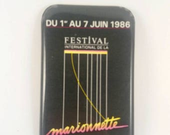 Vintage Montreal puppet festival pinback button