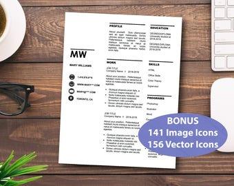 Modern Resume, CV Template, Creative Resume, Resume Template Word, Professional CV,Resume Cover Letter,Teaching Resume,Editable Word Resume