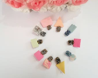 small earrings, cute earrings, colorful earrings, shapes earrings, beaded earrings, mix match earrings, jewelry earrings, earrings, jewelry