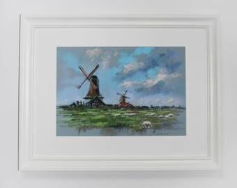 ORIGINAL pastel painting  Dutch landscape