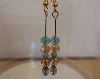 Blue and Purple Czech  Glass Earrings