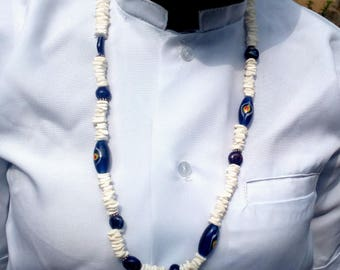 Necklace white and blue