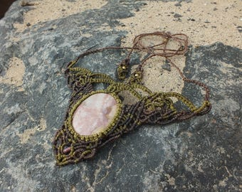 Pink Rhodonite Macrame Necklace