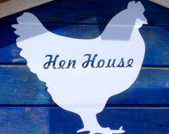 Chicken Coop 'Hen House' White Decal 20cm Sticker Poultry Silhouette Vinyl Sign