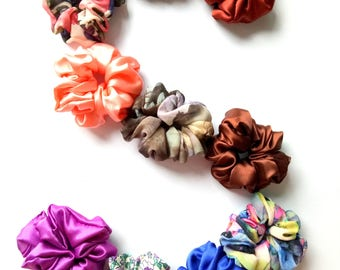 10 Silk Satin Hair Scrunchies - READY TO SHIP