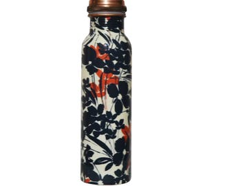 Pure Copper Water Bottle, Printed Handmade Leak Proof and Joint Proof. Ayurvedic health benefits