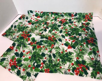 Christmas Holly Berries and Leaves Tea Towels