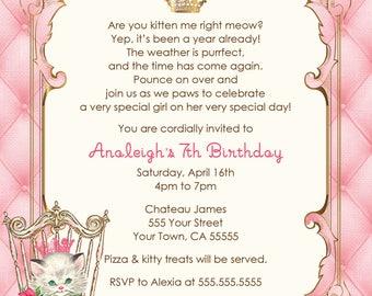 Vintage Kittens Printable Birthday Invitation
