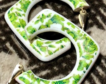 vintage earrings white green trim lucite square clip on hong kong