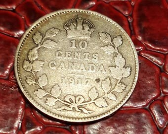 Canada George V 1917 Silver Ten Cents - VG+