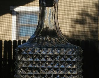 Vintage Clear Glass Whiskey Decanter Bottle