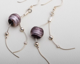 silver earrings with fusing glass bead.