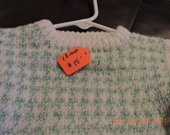 18mo green and white pull over sweater