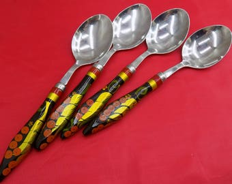 Vintage Spoons set 4 Khokhloma Хохлома Hand Painted Spoon Russian Khokhloma Russian Folk Art Soviet times souvenirs
