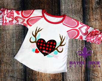 Valentines Day Antlers - Children's Valentine Ruffle Raglan Shirt