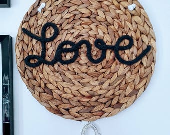 LOVE wall decor / feathers, Rhinestones, gift, Scandinavian, knitting, handmade, water hyacinth