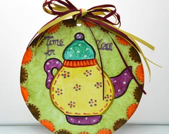 Decorative for kitchen-handmade-hand painting-kitchen-gift-home-acrylic colors-hagiography powder-ribbons-teapot-time for tea