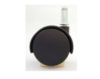 Chair Casters - Twin Nylon Wheel Casters - BLACK (Set of 4)   - Office Chair Casters- Dining Chair Casters