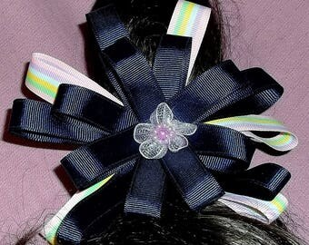 Boutique Bow, Stacked Boutique, Pinwheel Bow, Fancy hair bow, Wrap a round Bow, Flower Bows, Rainbow Ribbon, Girl Hair bow, Large Bow, 6""