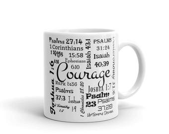 Courage Mug with Scriptures relating to Courage