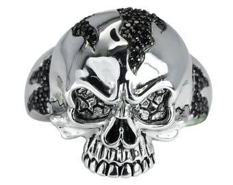 Skull Ring with Black Spinels Made Out of Solid Sterling Silver