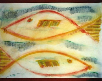 Zodiac signs Pisces-Classic depiction of fish swimming in 2 directions 2007