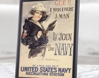Printable Wall Art - Navy Recruiting, WW2 Navy, vintage navy decor, go navy, navy poster, vintage us navy, united states navy, us navy, art