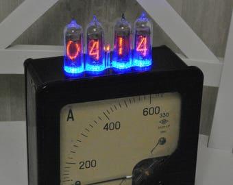 Nixie Tube Clock, customised clock, led clock, nixie tube, nixie, nixie clock, steampunk clock, industrial clock, reclaimed clock, Nos clock