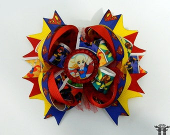 DC Superhero Girls SUPERGIRL Inspired Stacked Over The Top Boutique Hair Bow