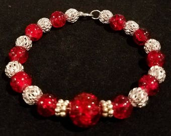 Ruby Red and Silver Beaded Bracelet