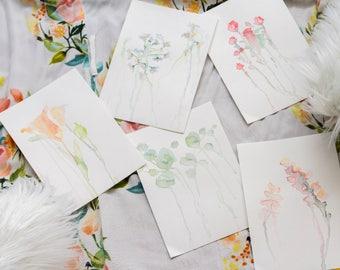 Watercolor Drip Paintings Set of 5 Prints