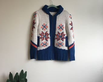 Alpine motif women's zip up sweater jacket • Vintage • 1980's • 1970's Style • Winter Sweater • Cozy • Small • Snowflake • Retro • Cute •