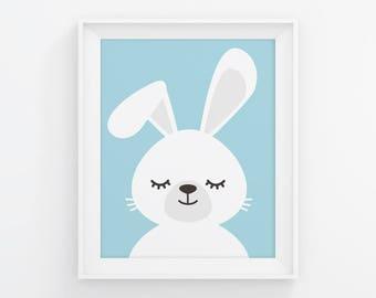 PRINTABLE Sleepy Bunny Nursery Art. Blue Baby Boy Room Wall Decor. Cute Closed Eyes Bunny Poster. Animals Sleeping Digital Print Download