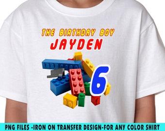 Lego Iron On Transfer , Lego DIY Transfer , Lego DIY Birthday Shirt , Lego Personalize , Digital Files