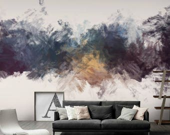 Hand Paint Abstract Wallpaper, Removable Wallpapers   LivingRoom Wallpaper    Self Adhesive Wall Decal
