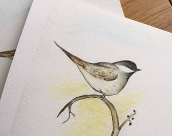Chickadee watercolor note cards, set of 4