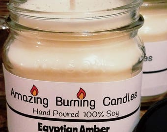 Soy Candle-8oz candle-Christmas gift for her-Amazing Burning Candles-Egyptian Amber