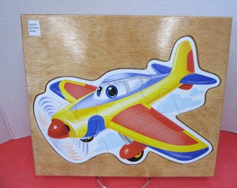 Child's Wood Framed Plane Puzzle