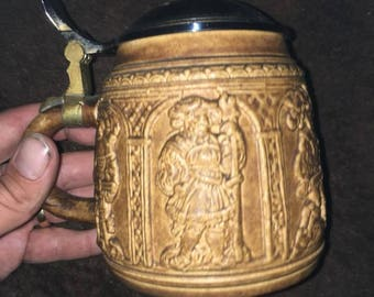 Beer stein with lid top condition