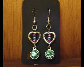 Turquoise, Purple, and Silver Heart Dangle Earrings
