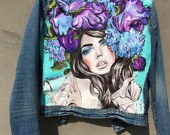 Denim jacket hand painted/girl/flowers