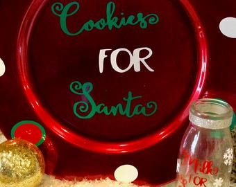 Santa plate and milk glass