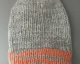 Silver & Orange Lightweight Knit Beanie