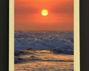Photo Note Card, Sunset Over Waves 3, Blank Greeting Card, Sunset Photo, Blank Photo Card, Note Card with Envelope, Handmade Note Card