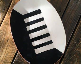 """1960's/70's """"Keyboard"""" Platter, Terracotta Ceramic"""