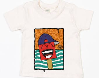"Baby T-shirt nature ""shoe with cap"" (organic cotton)"