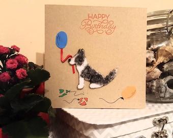 Happy Birthday Border Collie Card, Happy Birthday Dog Card, Dog Lovers Greetings Card, Handmade Birthday Card, Personalise, Sheepdog Card