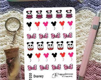 Teddy - Disney, Disneyland, Mickey, Minnie, balloons and bow