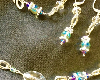 Crystal Beads w/Aqua Crystal Bead Necklace, Earring and Bracelet