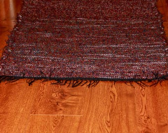 "Homemade Loom Woven Fall Colors Wool Shag Rug 30"" X 50"""